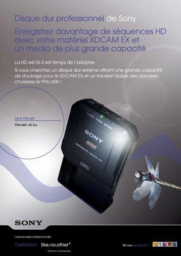 Disque dur professionnel de Sony Enregistrez davantage - Palm prod