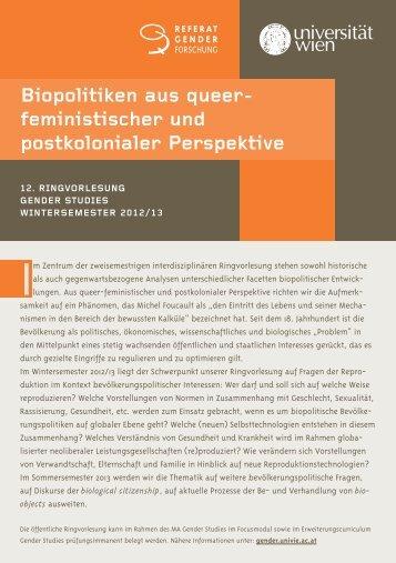 Biopolitiken aus queer- feministischer und postkolonialer Perspektive