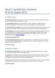 Sports- og Byfesten i Vammen 8. til 10. august 2013