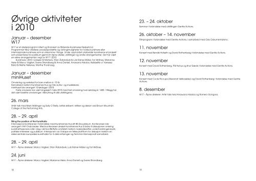 Årsrapport 2010 Kunstnernes Hus