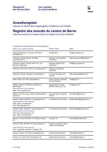 Anwaltsregister Registre des avocats du canton de ...  - Kanton Bern