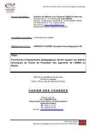 Cahier des charges Equipements pédagogiques des ateliers - la cmar