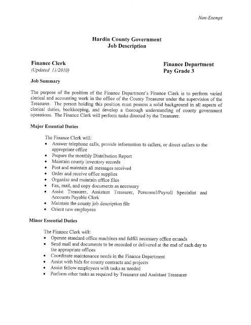 Hardin County Government Job Description Finance Clerk
