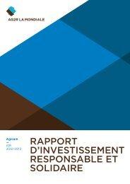 RappoRt d'investissement Responsable et solidaiRe - Ag2r