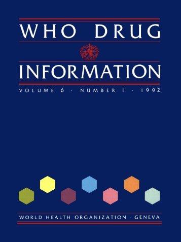 WHO Drug Information Vol. 06, No. 1, 1992