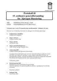 Protokoll til 15. ordinære generalforsamling for Sjøvegen Huseierlag
