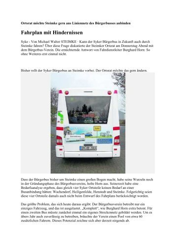 Fahrplan mit Hindernissen - Bürgerbus Syke