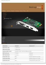 Blackmagic Design: Intensity Tech Specs - Digistore