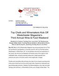 Wine & Food Weekend event press release draft - Westchester ...