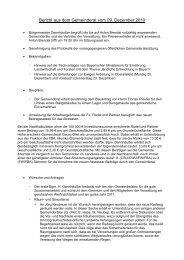 Bericht aus dem Gemeinderat vom Dezember 2010 - CSU Ahorntal