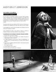 AuDItIon Et ADmISSIon - École de théâtre