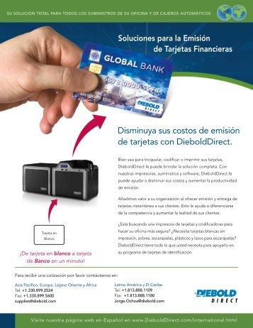 Disminuya sus costos de emisión de tarjetas con DieboldDirect.