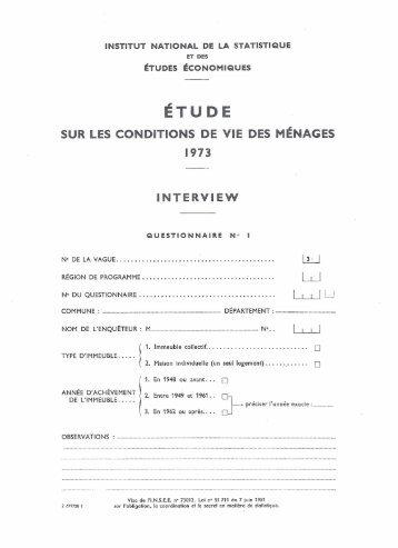 SUR LES CONDITIONS DE VIE DES MENAGES 1973 1NTERVI EW