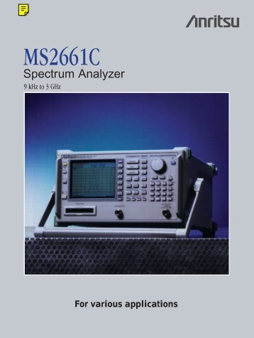 Anritsu MS2661C: Microwave Spectrum Analyzer - elsinco