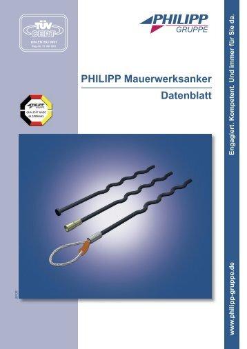 PHILIPP Mauerwerksanker Datenblatt - PHILIPP Gruppe