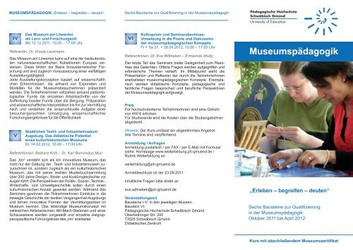 Museumspädagogik - Pädagogische Hochschule - Schwäbisch ...