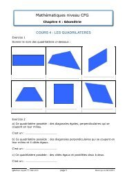 Les quadrilatères - Matheur