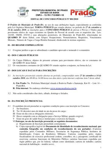 Edital 001/2010 - MSM Consultoria
