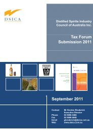 Distilled Spirits Industry Council of Australia - A tax plan for our future