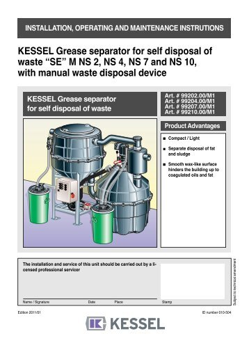 "KESSEL Grease separator ""M†NG 2, 4, 7 and 10 For installation in ..."