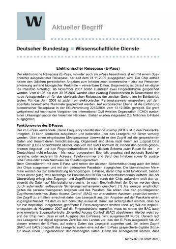 Elektronischer Reisepass (E-Pass) - Deutscher Bundestag