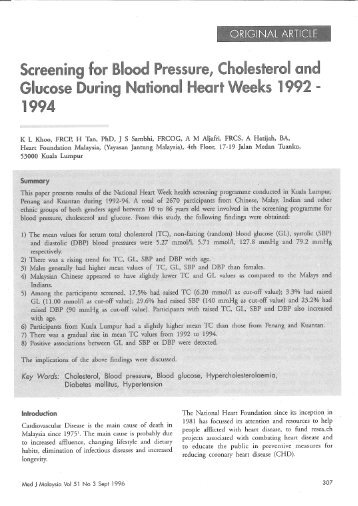 Screening for Blood Pressure, Cholesterol and Glucose During ...