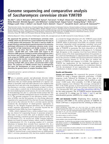 Genome sequencing and comparative analysis of Saccharomyces ...