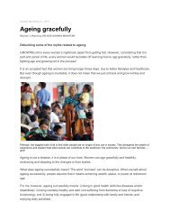 Ageing Gracefully (November 2010) - PrimaNora Medical Centre