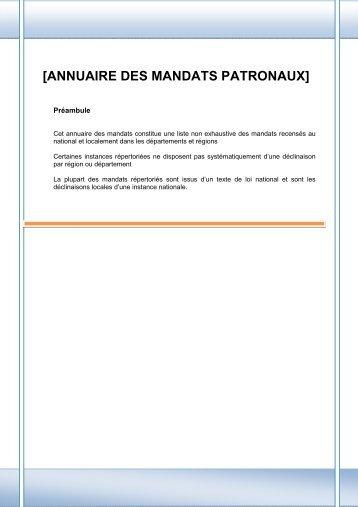 [ANNUAIRE DES MANDATS PATRONAUX] - CGPME