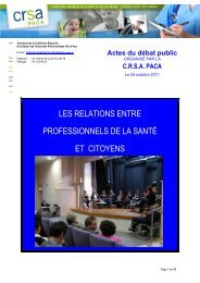Les actes du débat public - ARS Paca