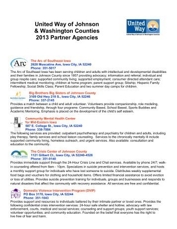 United Way of Johnson & Washington Counties 2013 Partner ...
