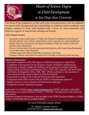 Master of Science Degree in Child Development - SDSU