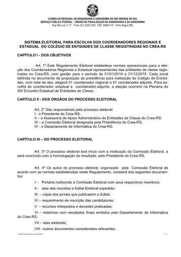 REGULAMENTO DAS ELEIÇÕES PARA PRESIDENTES ... - Crea-RS