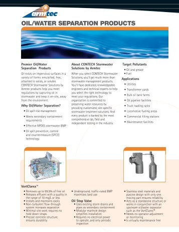 OIL/WATER SEPARATION PRODUCTS - Armtec