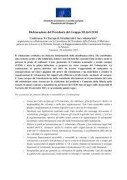 Dichiarazione Presidente Gruppo III - Destinazione Europa