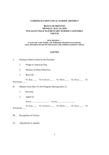 Regular Meeting Agenda - Fairfield Union Local School District