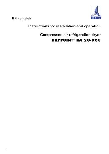 Instructions for installation and operation Compressed air ...