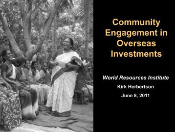 Community Engagement in Overseas Investments - World ...