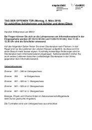 TAG DER OFFENEN TÜR (Montag, 8. März 2010) für ... - Das MNG