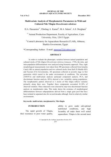 Multivariate Analysis of Morphometric Parameters in ... - Arabaqs.org