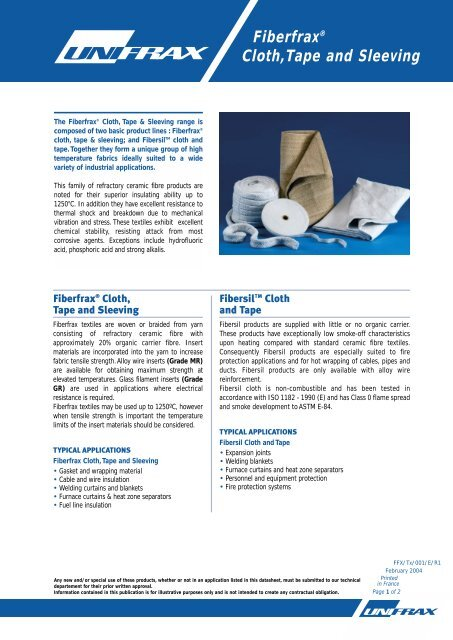 Fiberfrax® Cloth,Tape and Sleeving - SIG Technical Insulation