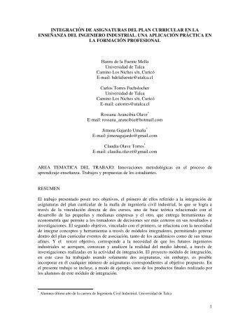 1 integración de asignaturas del plan curricular en la enseñanza del ...