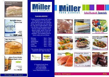 July/August Specials - Miller Food Service