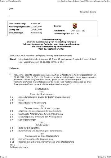 LVO lehramtsbezogener Bachelor-/Master-Studiengänge i.d.F. vom ...