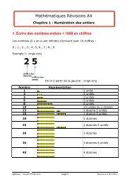 Révision A4 chapitre 1 cours 1 - Matheur