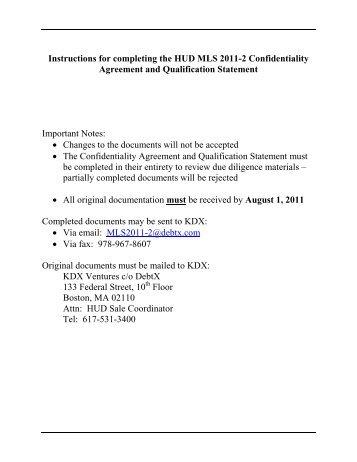 Confidentiality Agreement and Bidder Qualification Statement - DebtX
