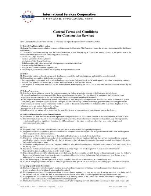 General Terms And Conditions For Construction Expateam Com