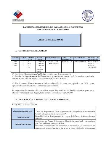 Director/a Regional - Contrata - Grados 5, 6 y 7 - MOP
