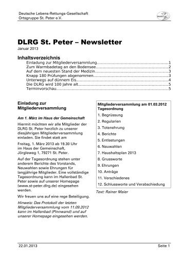 Januar 2013 - DLRG St. Peter