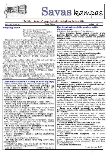 """Pirmasis """"Savo kampo"""" numeris - Telšių """"Kranto"""" pagrindinė mokykla"""